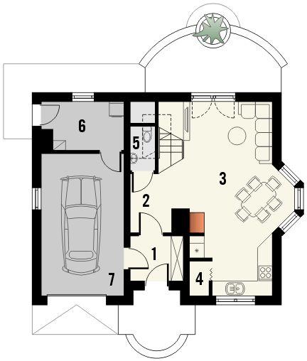 Plan parter casa cu 3 dormitoare la mansarda