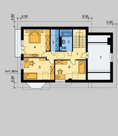 Plan mansarda casa cu arhitectura clasica