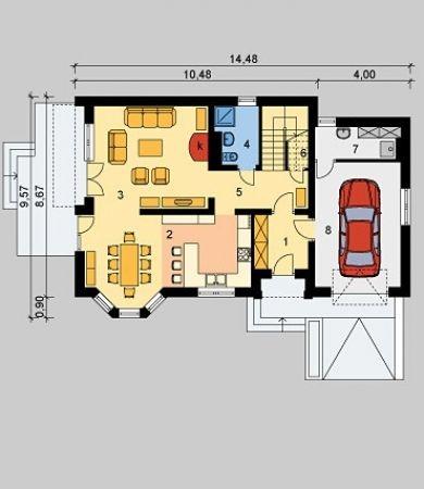 Plan parter casa cu arhitectura clasica