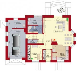 Plan parter casa spatioasa cu garaj
