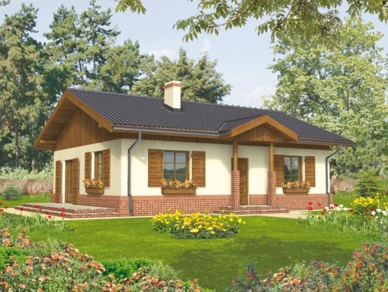 Casa mica cu parter si obloane exterioare din lemn