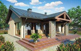 Casa mica fara etaj cu terasa de lemn