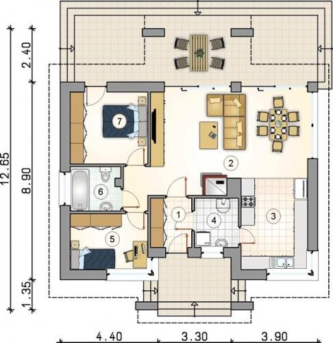 casa parter cu trei camere