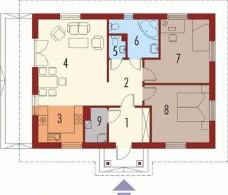Plan parter casa cu doua dormitoare