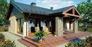 Proiect de casa cu doua dormitoare vedere din exterior