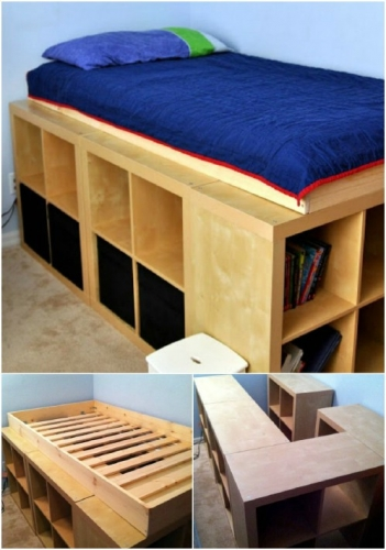 Construire pat cu spatii de depozitare