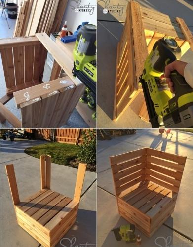 Scaun din sipci de lemn