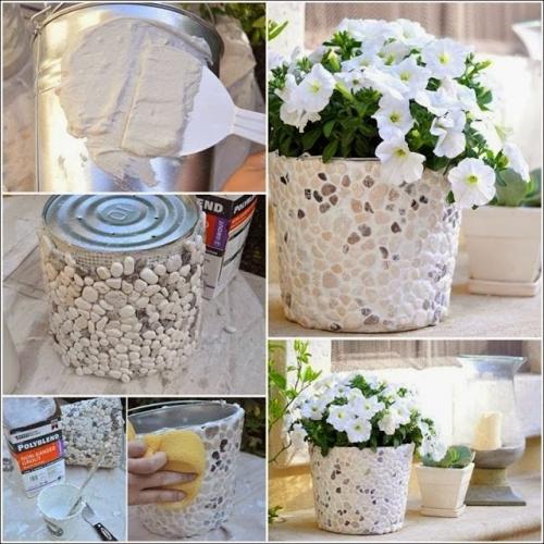 Vase flori decorate cu pietre