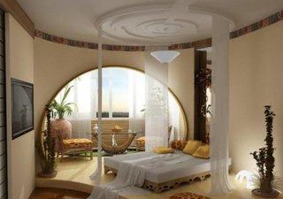 Constructie moderna in dormitor cu arcada din rigips
