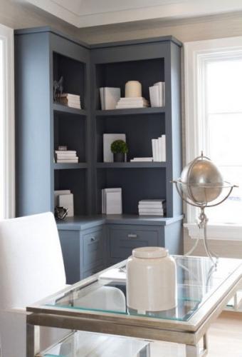 biblioteca pe colt culoare gri albastrui