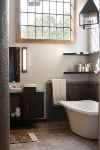 etajere negre pe colt pentru baie alb cu negru