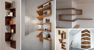 Rafturi si etajere moderne pe coltul camerei