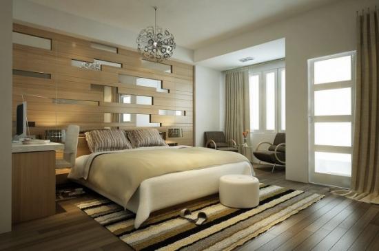 Tablie pat din lemn si oglinzi