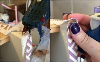 Fixarea materialului pe colturile sertarului