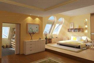 Varianta amenajare dormitor la mansarda