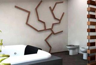 Design din lemn pentru perete baie