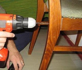 Reparare scaun gaurirea cu bormasina