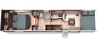 Rulota de lux cu doua dormitoare si dressing
