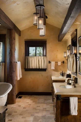 ginzi de lemn masiv in baie pentru o nota rustica