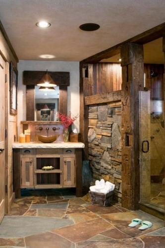 idee de baie amenajata cu piatra naturala