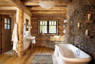 piatra de rau pe peretii din baie pentru ceva traditional