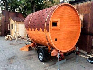 Sauna tip butoi cu roti