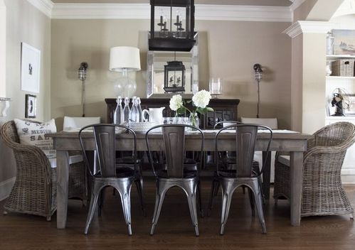 Masa dining cu scaune diferite
