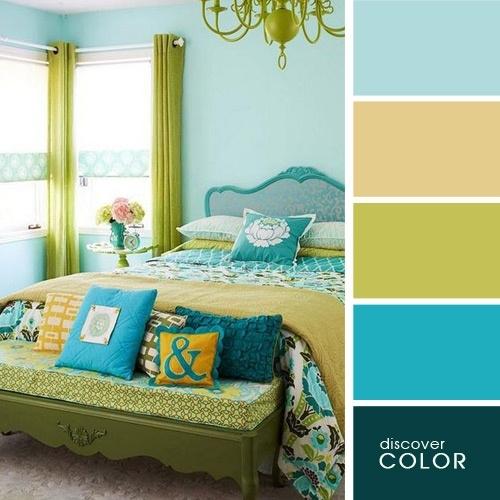 Dormitor modern turcoaz cu vernil