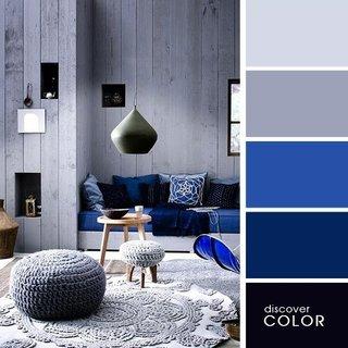 Gri si albastru pentru decor interior modern