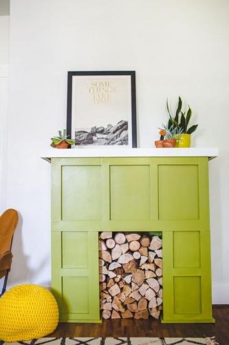 Semineu decorativ verde