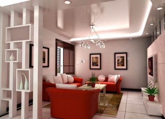 Partitie decorativa din rigips  cu etajere living modern