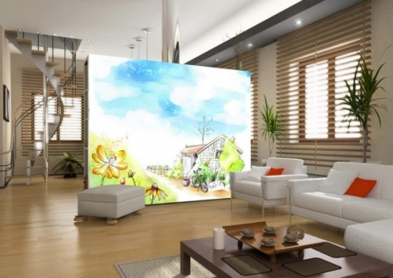 Perete din rigips pictat pentru separare camera mare