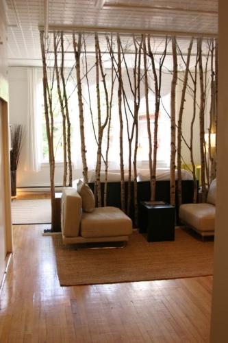 Separare originala din crengi de copac vopsite de agatate de tavan