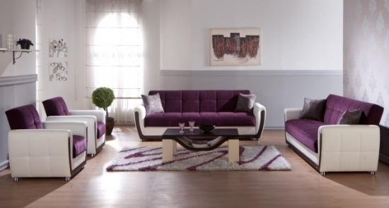 Canapele fixe cu fotolii violet cu alb