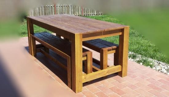 Masa cu bancute din lemn masiv de arin pentru gradina