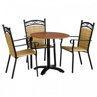 Set de terasa cu masa cu blat lemn si scaune din ratan sintetic