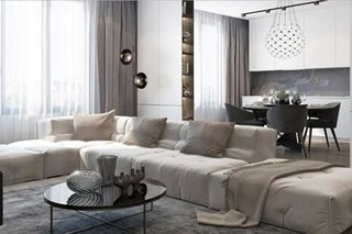 Living open space cu canapea foarte mare