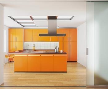 Mobila portocalie pentru bucatarie
