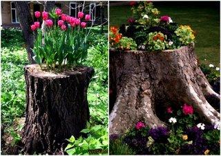 Suporturi flori in trunchiuri de copaci