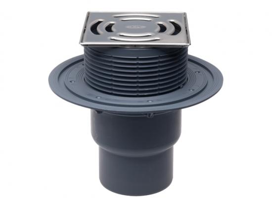 Receptor de terasa cu iesire verticala D75 110 cu clapeta anti-miros mecanica si gratar inox