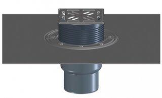 Sifon pentru balcon si terasa cu iesirea la scurgere DN75 110 pe verticala cu manseta din bitumen si