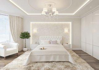 Dormitor alb elegant cu tapet