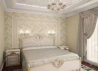 Dormitor clasic cu tapet