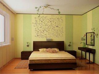 Dormitor cu tapet cu dungi