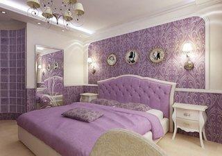 Dormitor cu tapet mov