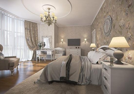 Dormitor elegant cu tapet