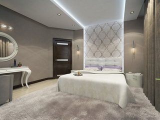 Dormitor modern cu tapet
