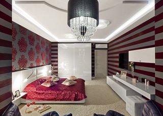 Tapet cu dungi in dormitor