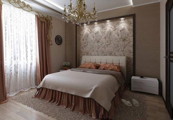 Tapet maro elegant in dormitor