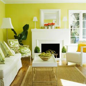 Living zugravit in verde cu mobila si accesorii albe